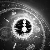 Dial of watch. Time Machine. Mechanism of eternity. Stock Photo