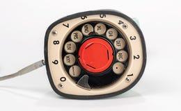 Dialer inferiore di vecchio retro telefono, quadrante rotatorio di un pezzo sul fondo Fotografie Stock