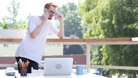 Dialing Call, Talking on Phone,Standing in Balcony Outdoor. Creative designer , businessman stock footage