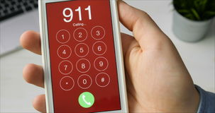 Dialing emergency number 911 on the smartphone stock video footage