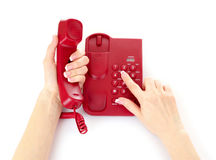 Dialing on phone Stock Photo
