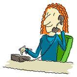 Dialing Phone. Vector illustration of a happy business woman at her desk, dialing the telephone Stock Image
