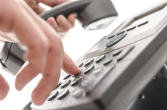 Dialing a phone number closeup Royalty Free Stock Photo