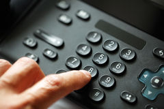 Dialing telephone keypad. Concept for communication, contact us and customer service support Stock Photo