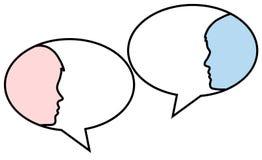 Dialog - anförandebubblor med två framsidor man och kvinna, lagerför vect vektor illustrationer