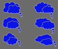 Dialog box icon, chat cartoon bubbles. Thinking cloud. Vector, Isolated in white background Stock Image