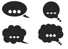 Dialog box icon, chat cartoon bubbles. Thinking cloud. Vector, Isolated in white background Royalty Free Stock Images