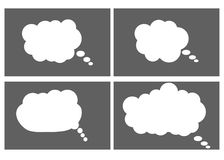Dialog box icon, chat cartoon bubbles. Thinking cloud. Vector, Isolated in white background Stock Photos