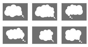 Dialog box icon, chat cartoon bubbles. Thinking cloud. Vector, Isolated in white background royalty free illustration