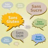 Dialog Boxes Tags Food Allergens - Gluten Sugar Lactose Egg GMO free Labels - French Language. Dialog Boxes Tags with Food Allergens - Gluten Sugar Lactose Egg vector illustration