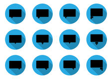 Dialog bubbles in flat icon. Set of 12 black dialog bubbles in flat icon design Stock Photography