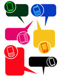 Dialog Bubbles with mobile phones Royalty Free Stock Image