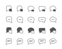 Dialog bubbles set of flat vector icons. Flat vector icons of dialog bubbles different shapes. Fully scalable Royalty Free Stock Photos