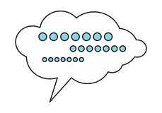 Dialog Cloud Icon. White dialog cloud with message. Dialog icon. Chat icon. Online communication element. Design element, sign, symbol, icon in flat. Isolated Royalty Free Stock Images