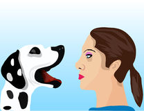 Dialog with dog. This is an illustration who represent dialog between girl and dog Stock Photos