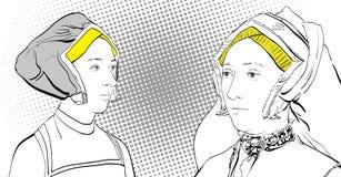 Dialog för kvinna` s Damer i medeltida klänning Medeltida legend medeltida kvinnor Arkivbild