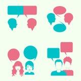 Dialog head silhouette,. Vector dialog bubble, couple head silhouette Stock Photos