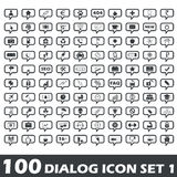 Dialog icon set 1. Set of 100 dialog icons with different images in chat bubbles, part 1 Royalty Free Stock Image