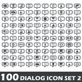 Dialog icon set 2. Set of 100 dialog icons with different images in chat bubbles, part 2 Royalty Free Stock Photo