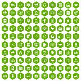 100 dialog icons hexagon green. 100 dialog icons set in green hexagon isolated vector illustration Stock Photo