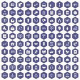 100 dialog icons hexagon purple. 100 dialog icons set in purple hexagon isolated vector illustration Stock Photo