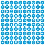 100 dialog icons set blue. 100 dialog icons set in blue hexagon isolated vector illustration Royalty Free Illustration