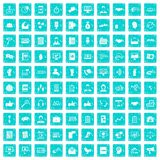 100 dialog icons set grunge blue. 100 dialog icons set in grunge style blue color isolated on white background vector illustration Royalty Free Stock Photography
