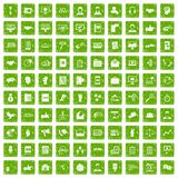 100 dialog icons set grunge green. 100 dialog icons set in grunge style green color isolated on white background vector illustration Royalty Free Stock Photo