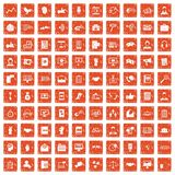 100 dialog icons set grunge orange. 100 dialog icons set in grunge style orange color isolated on white background vector illustration Royalty Free Stock Photography