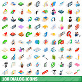 100 dialog icons set, isometric 3d style. 100 dialog icons set in isometric 3d style for any design vector illustration Royalty Free Stock Image