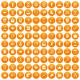 100 dialog icons set orange. 100 dialog icons set in orange circle isolated on white vector illustration Stock Illustration