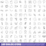 100 dialog icons set, outline style. 100 dialog icons set in outline style for any design vector illustration Royalty Free Stock Photo
