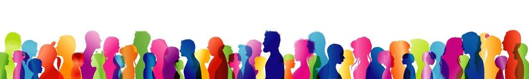 Dialog mellan olikt folk av olika åldrar och mång--person som tillhör en etnisk minoritet Kulöra profilhuvud för kontur gemenskap royaltyfri illustrationer