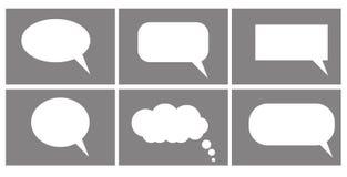 Dialog pudełka ikona, gadki kreskówki bąble obłoczny główkowanie royalty ilustracja