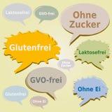 Dialog pudełka Oznaczają Karmowych Allergens Niemiecki język - gluten Cukrowej laktozy GMO swobodnie Jajeczne etykietki - royalty ilustracja