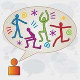 Dialog pudełko z ciało ikonami - sprawność fizyczna, sporty royalty ilustracja