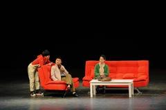 Dialog-Reflexion auf Bildung-Leuten im Großen Stadium Stockbild