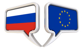 The dialog between the Russian Federation and the European Union. Dialog clouds with flags of the Russian Federation and the European Union. The three Royalty Free Stock Photo