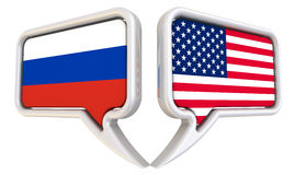 The dialog between the Russian Federation and the United States of America. Dialog clouds with flags of the Russian Federation and the United States of America Stock Photography