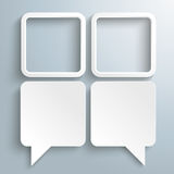 2 Dialog Speech Balloons 2 Squares. 2 rectangle speech balloons with 2 squares on the gray background Stock Photos