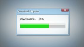 Dialog window with download progress, green status bar showing process completed