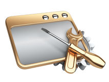 Dialog window with gold gear wheel and screwdriver Royalty Free Stock Photos