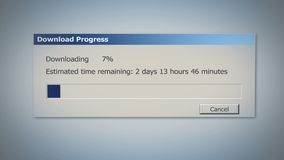 Dialog window with super slow downloading process, low Internet speed, old times