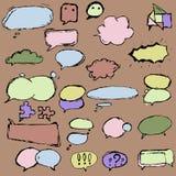 Dialogaskar och ballonger i olika former royaltyfri illustrationer