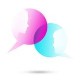 Dialogblasen mit zwei Gesichtern Stockbild