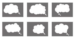 Dialogfeldikone, Chatkarikaturblasen Denkende Wolke Lizenzfreies Stockfoto