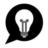 Dialogo della siluetta con la lampadina dentro Fotografia Stock