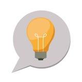 dialogo della siluetta 3d con la lampadina dentro Immagine Stock
