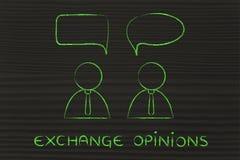 Dialogo di conversazione degli uomini d'affari, opinioni di scambio illustrazione di stock
