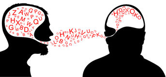 Dialogue. One person is speaking and one listening stock illustration